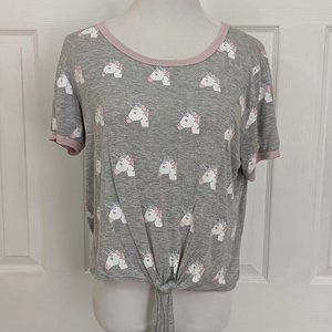 French Pastry heather gray unicorn emoji crop top